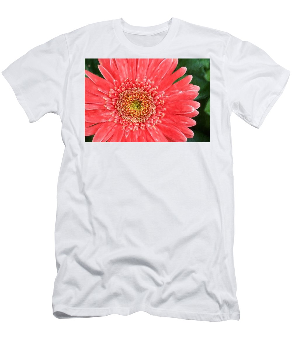 Alicegipsonphotographs Men's T-Shirt (Athletic Fit) featuring the photograph Peachy Gerbera by Alice Gipson