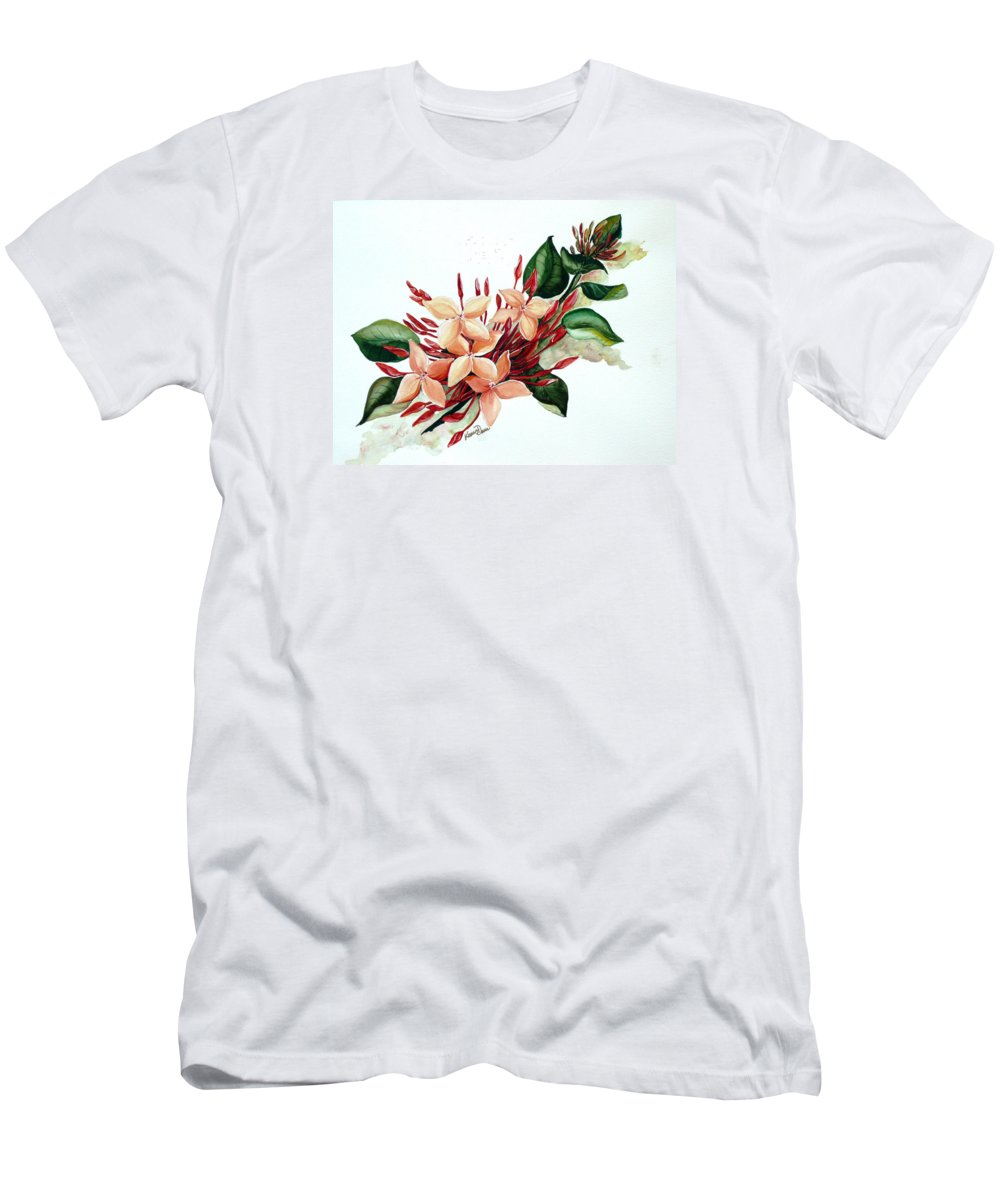 Floral Peach Flower Watercolor Ixora Botanical Bloom Men's T-Shirt (Athletic Fit) featuring the painting Peachy Ixora by Karin Dawn Kelshall- Best