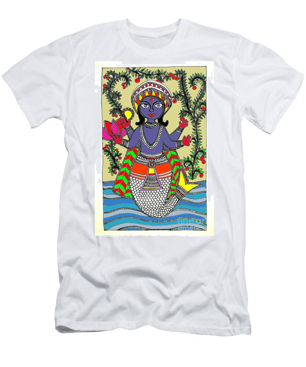 Animal Men's T-Shirt (Athletic Fit) featuring the painting Matsya An Avatar Of Hundi God Vishnu by Sketchii Studio