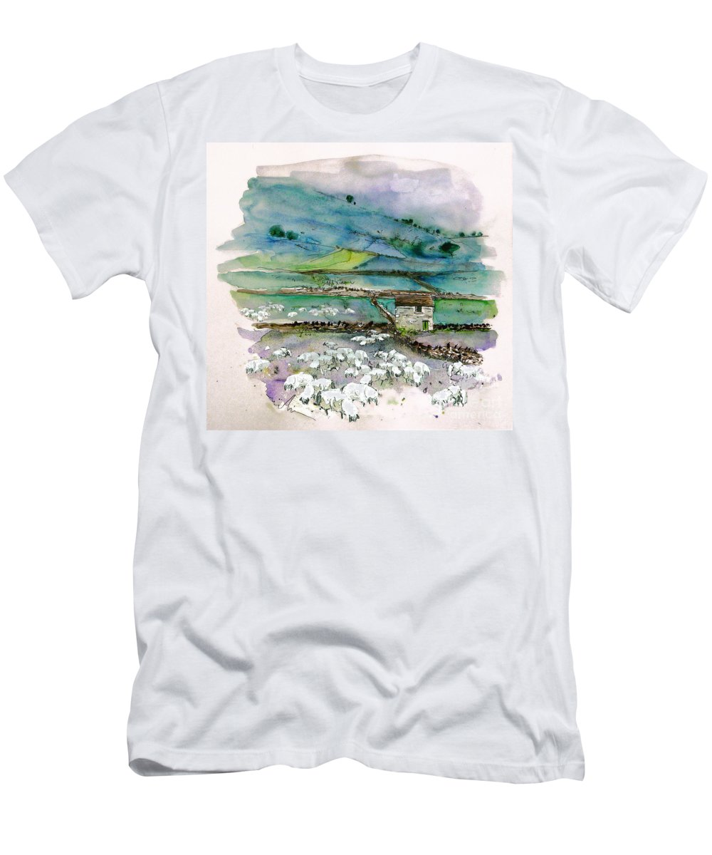 Paintings England Watercolour Travel Sketches Ink Drawings Art Landscape Paintings Town Men's T-Shirt (Athletic Fit) featuring the painting Peak District Uk Travel Sketch by Miki De Goodaboom