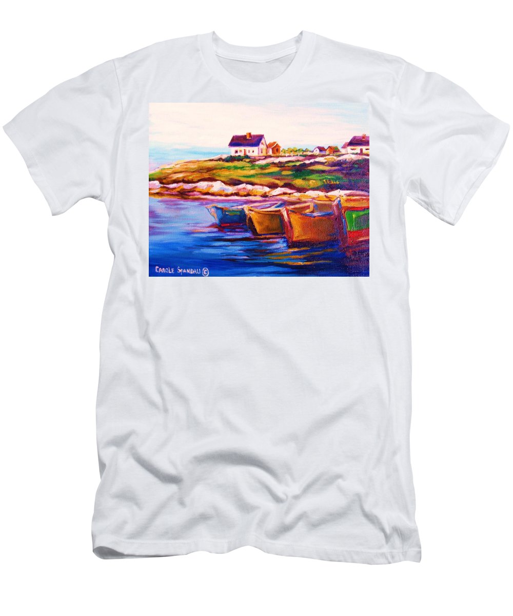 Row Boats Men's T-Shirt (Athletic Fit) featuring the painting Peggys Cove Four Row Boats by Carole Spandau