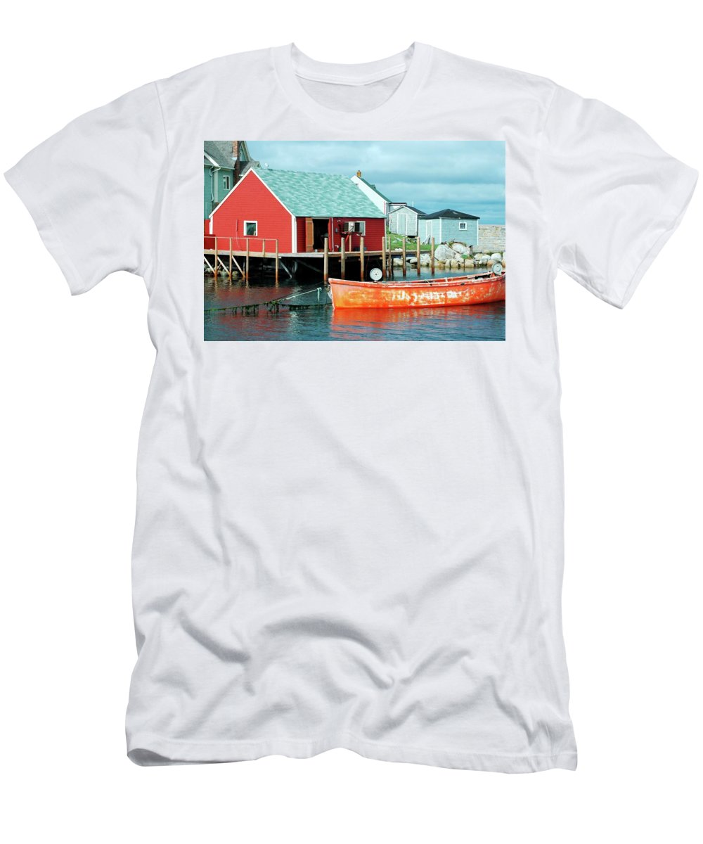 Red Men's T-Shirt (Athletic Fit) featuring the photograph Peggy's Cove by Kathleen Struckle