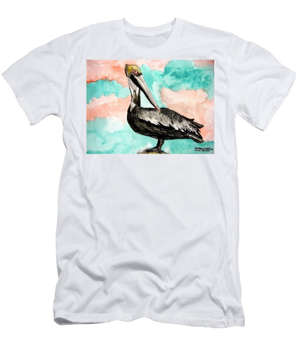 Bird Men's T-Shirt (Athletic Fit) featuring the painting Pelican 3 by Derek Mccrea