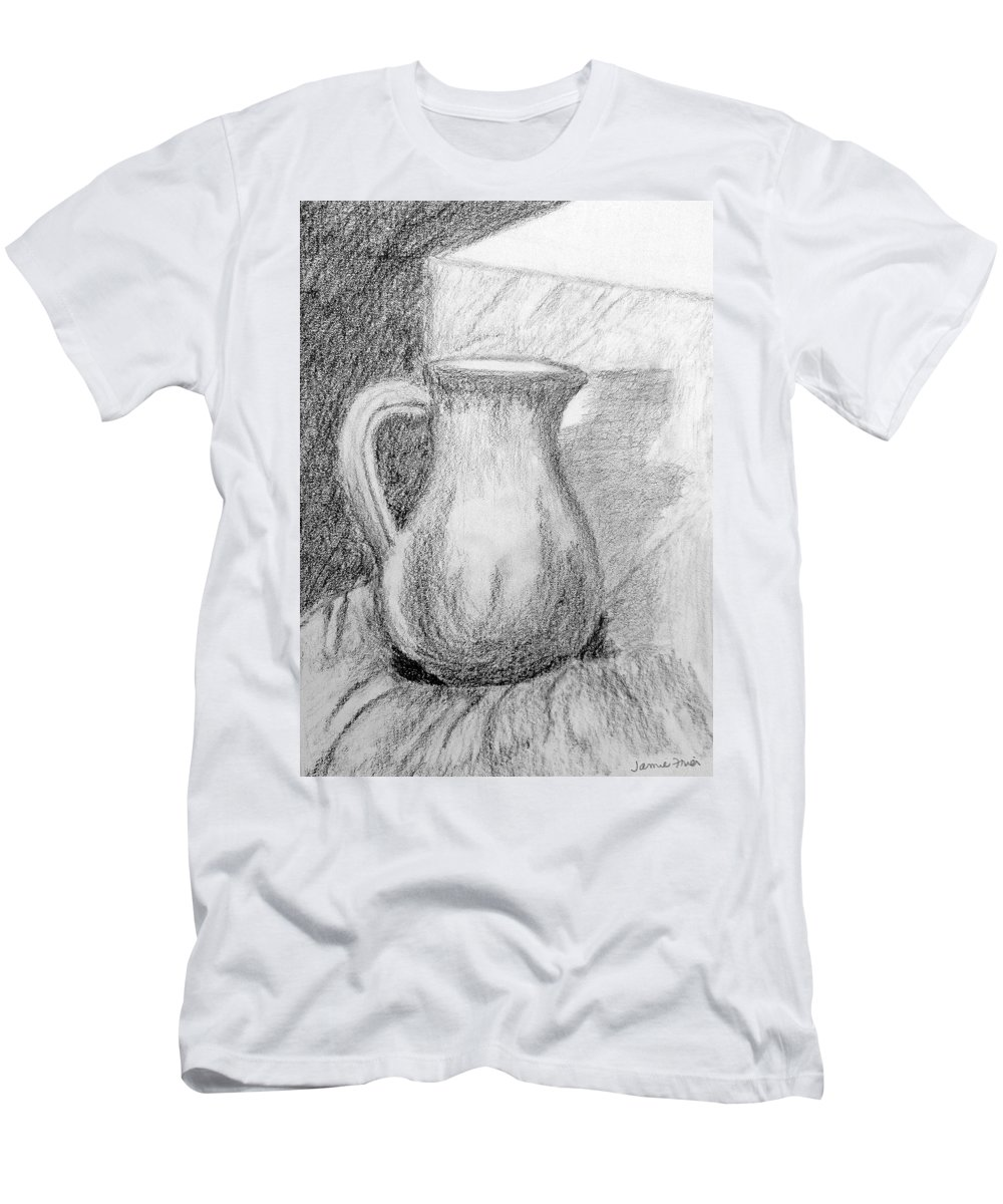 Pitcher Men's T-Shirt (Athletic Fit) featuring the drawing Pencil Pitcher by Jamie Frier