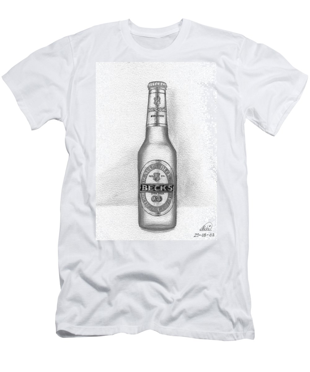Bottle Men's T-Shirt (Athletic Fit) featuring the drawing Pencil Work For My Art School by Alban Dizdari