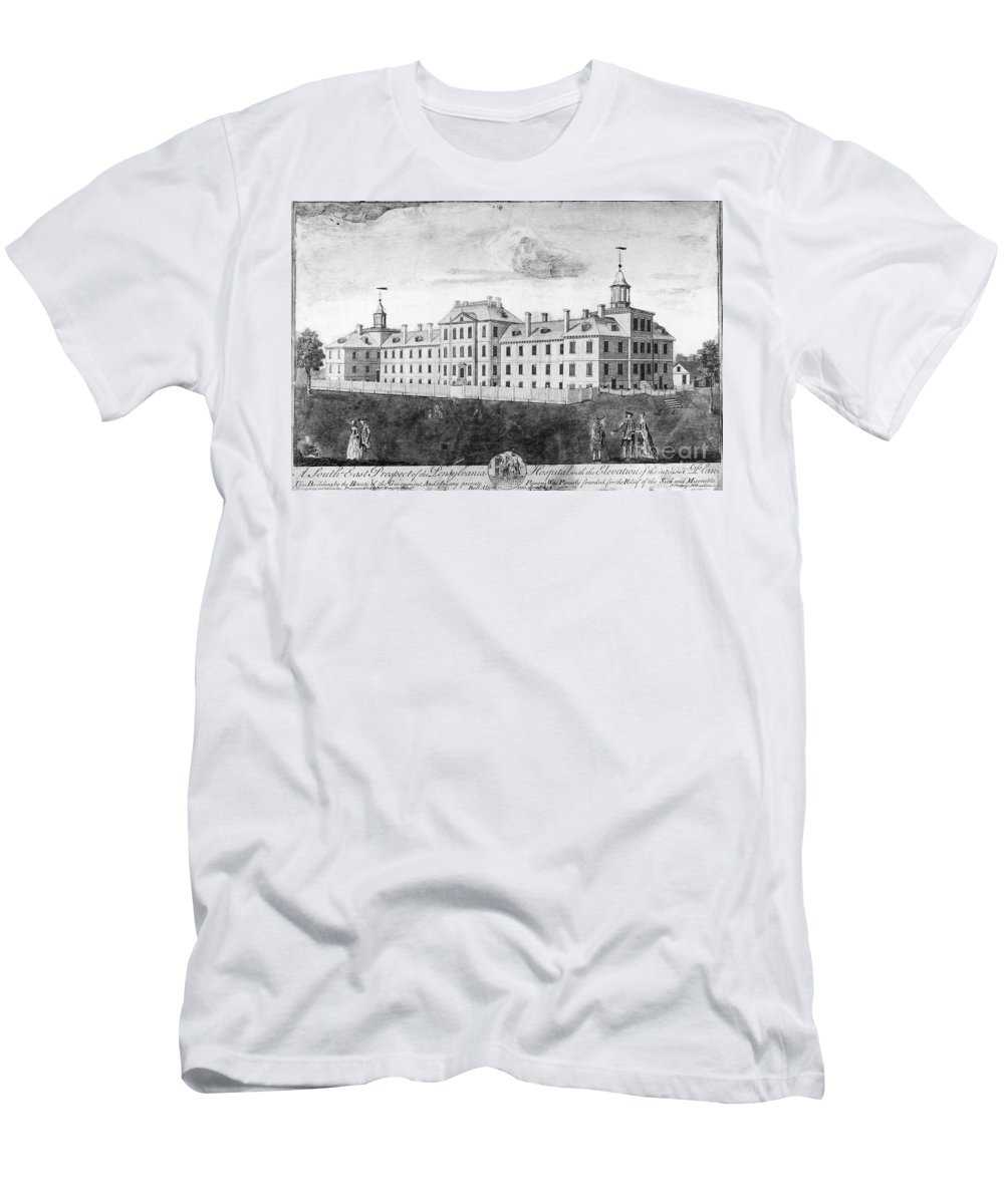 1755 Men's T-Shirt (Athletic Fit) featuring the photograph Pennsylvania Hospital, 1755 by Granger