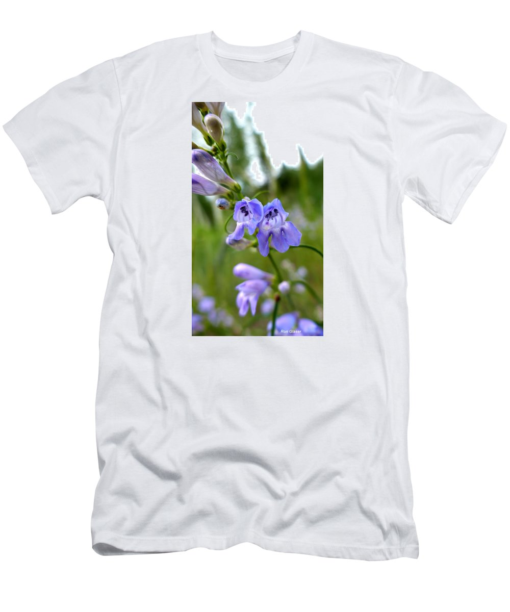 Ron Glaser Men's T-Shirt (Athletic Fit) featuring the photograph Penstemon 1 by Ron Glaser