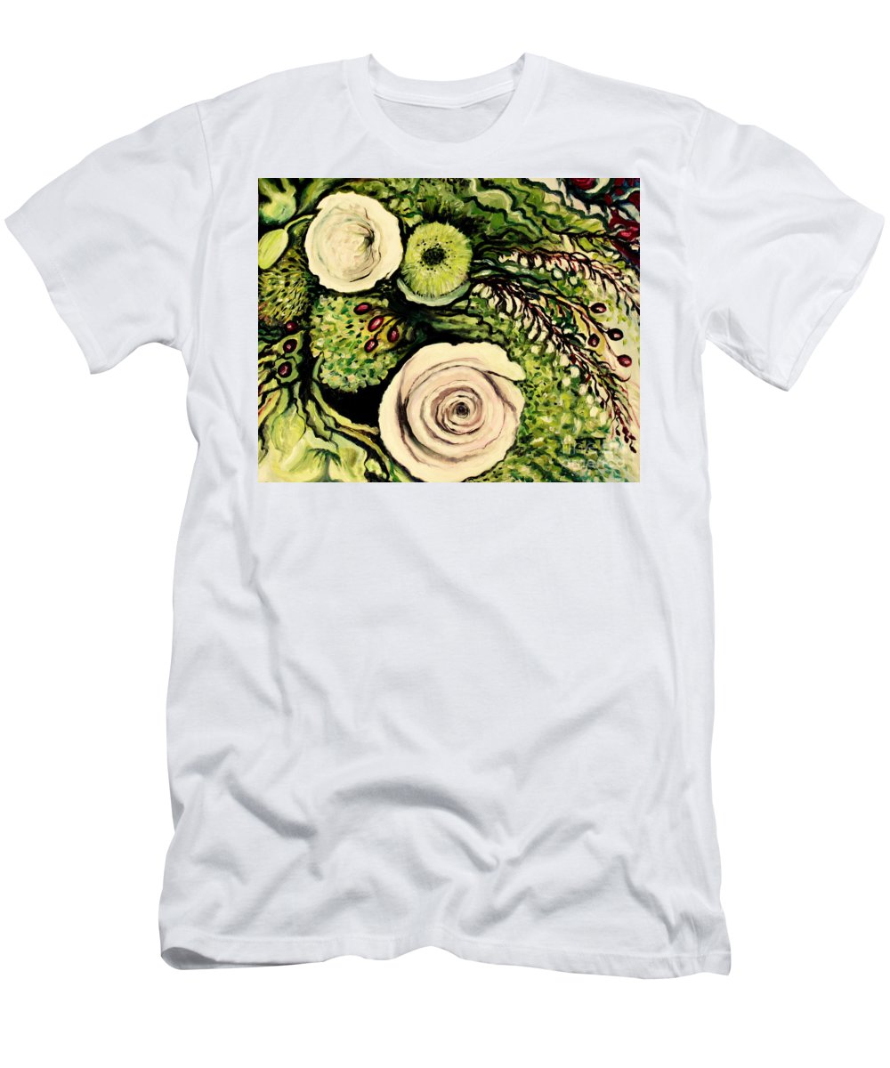 Oil Men's T-Shirt (Athletic Fit) featuring the painting Peonies And Hypercom by Elizabeth Robinette Tyndall
