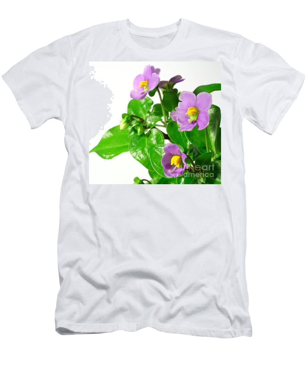 Closeup Men's T-Shirt (Athletic Fit) featuring the photograph Persian Violets by Gaspar Avila