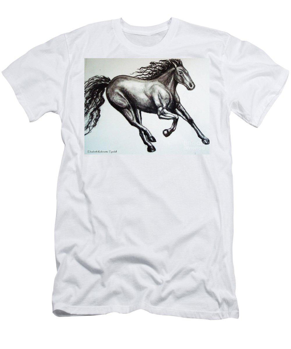 Horse Men's T-Shirt (Athletic Fit) featuring the drawing Persistance by Elizabeth Robinette Tyndall