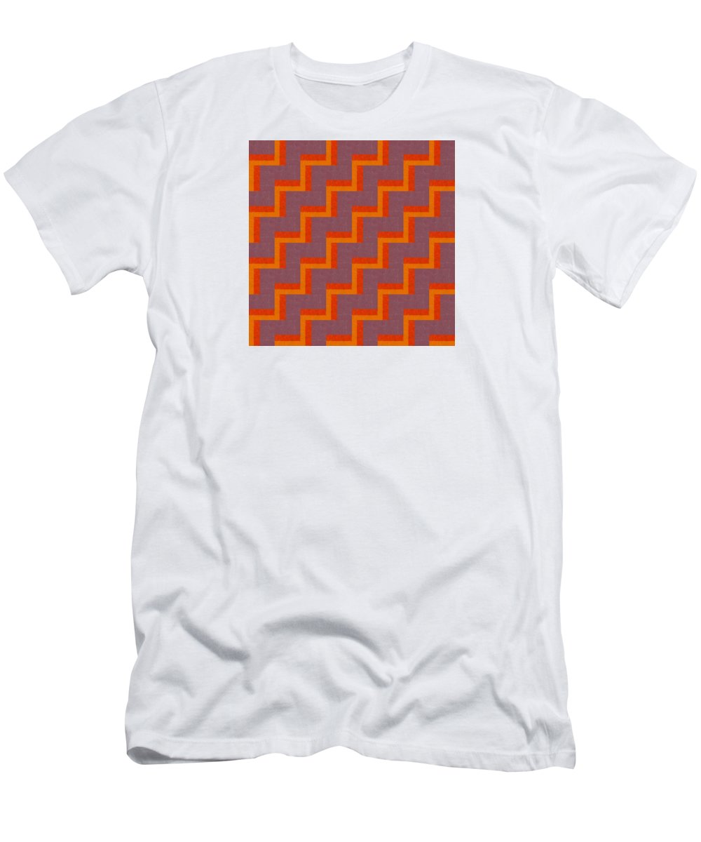 Zig Zag Men's T-Shirt (Athletic Fit) featuring the painting Perspective Compilation 42 by Michelle Calkins