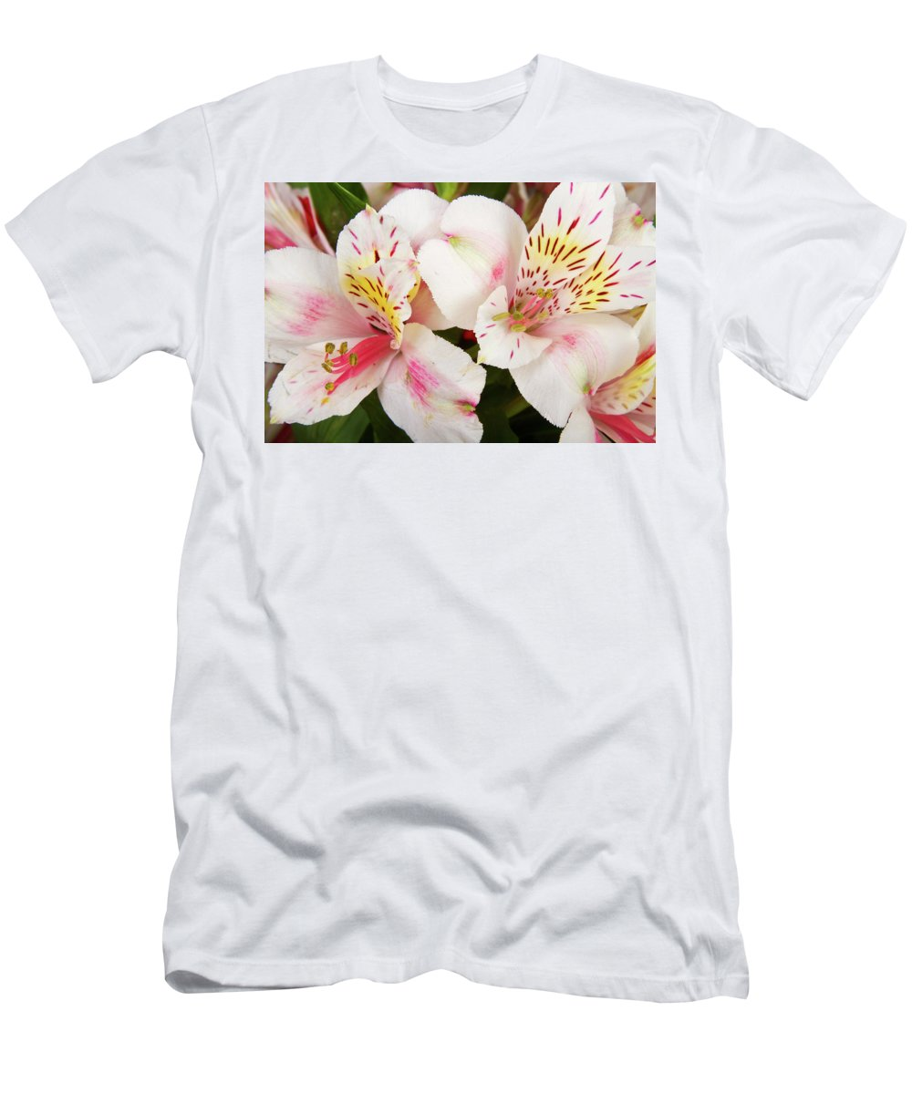 Peruvian Lilies Men's T-Shirt (Athletic Fit) featuring the photograph Peruvian Lilies Flowers White And Pink Color Print by James BO Insogna