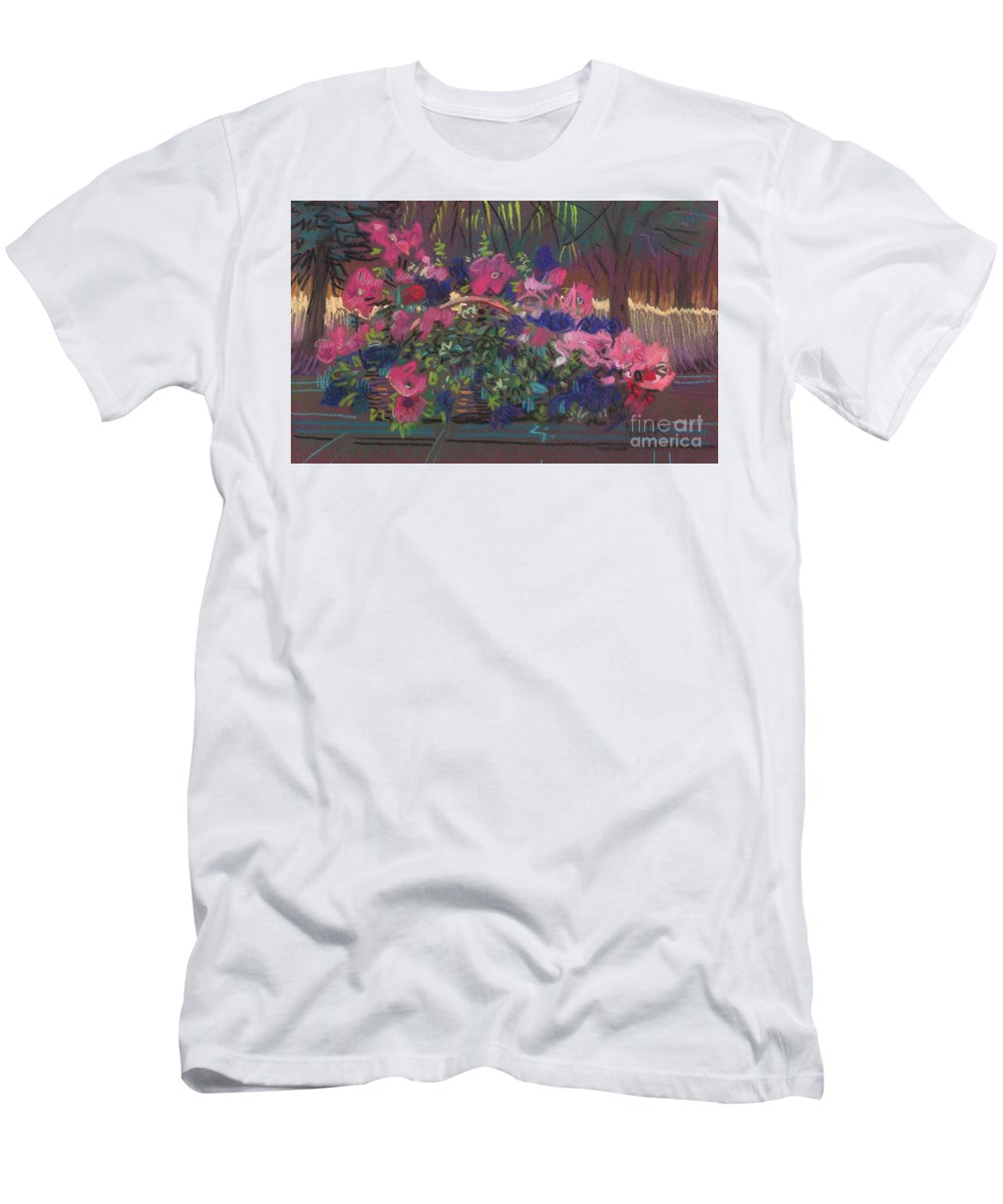 Petunias Men's T-Shirt (Athletic Fit) featuring the drawing A Basket Of Petunias by Donald Maier