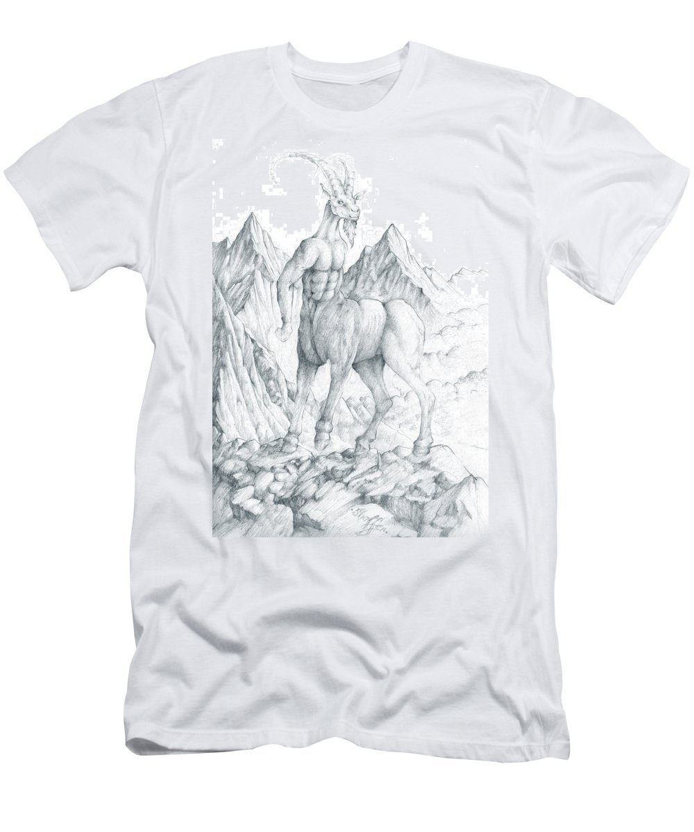 Centaur Men's T-Shirt (Athletic Fit) featuring the drawing Pholus The Centauras by Curtiss Shaffer