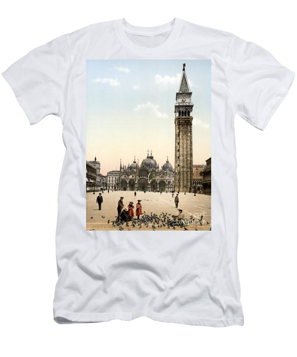 History Men's T-Shirt (Athletic Fit) featuring the photograph Piazza San Marco, 1890s by Science Source
