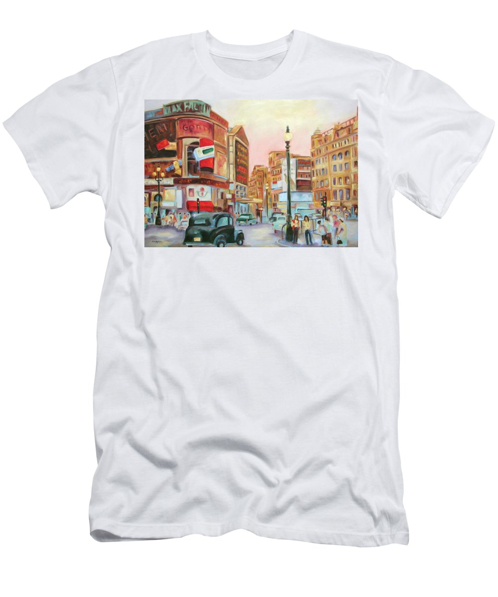 Cityscape T-Shirt featuring the painting Picadilly by Ginger Concepcion