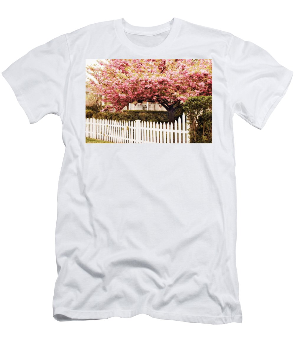 Spring Men's T-Shirt (Athletic Fit) featuring the photograph Picket Fence Charm by Jessica Jenney