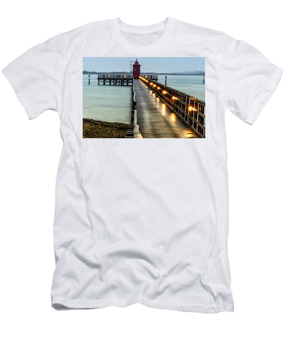 Pier Men's T-Shirt (Athletic Fit) featuring the photograph Pier With Lighthouse by Wolfgang Stocker