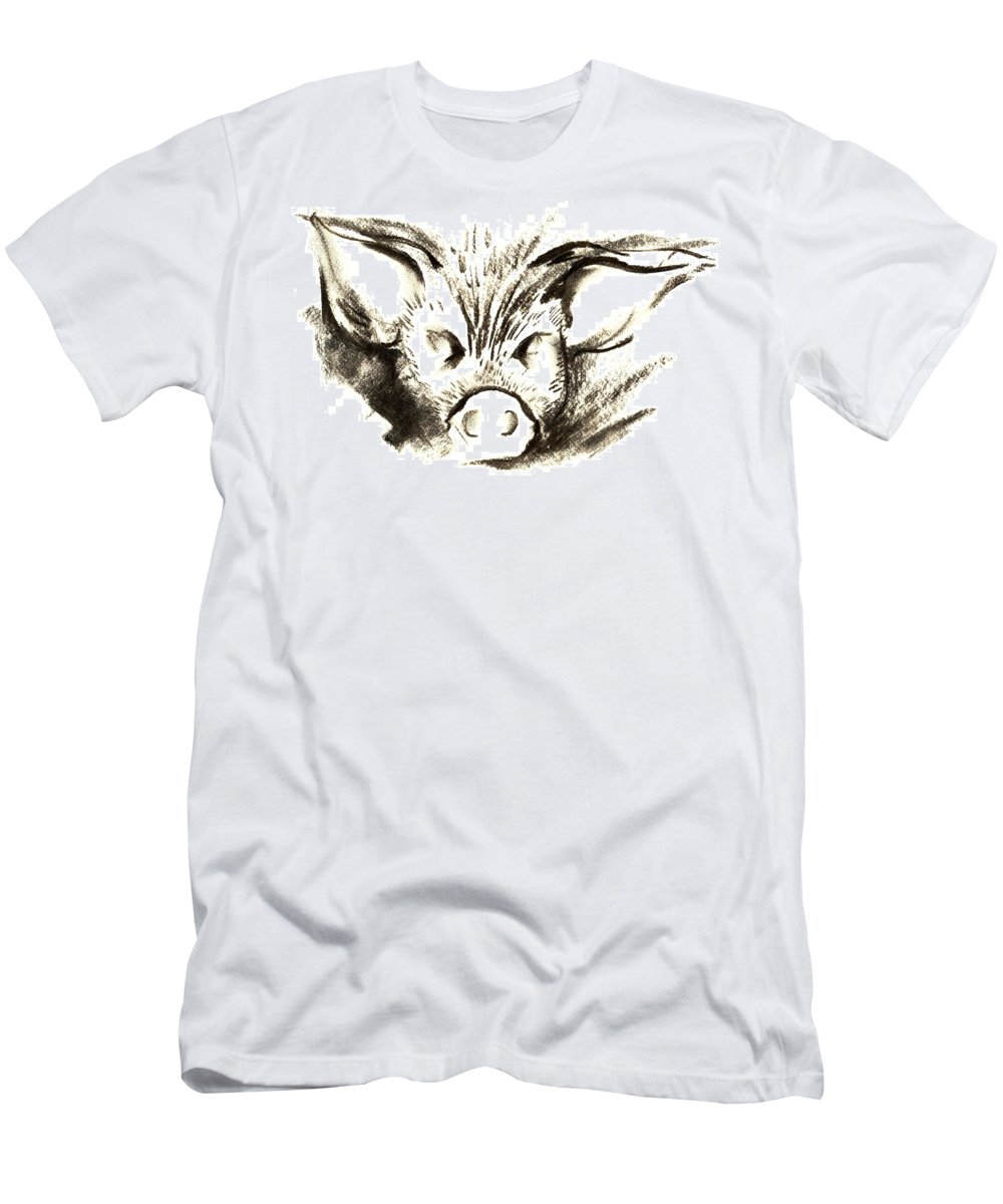 Animal Welfare Men's T-Shirt (Athletic Fit) featuring the drawing Pig Headed by Mark Cawood