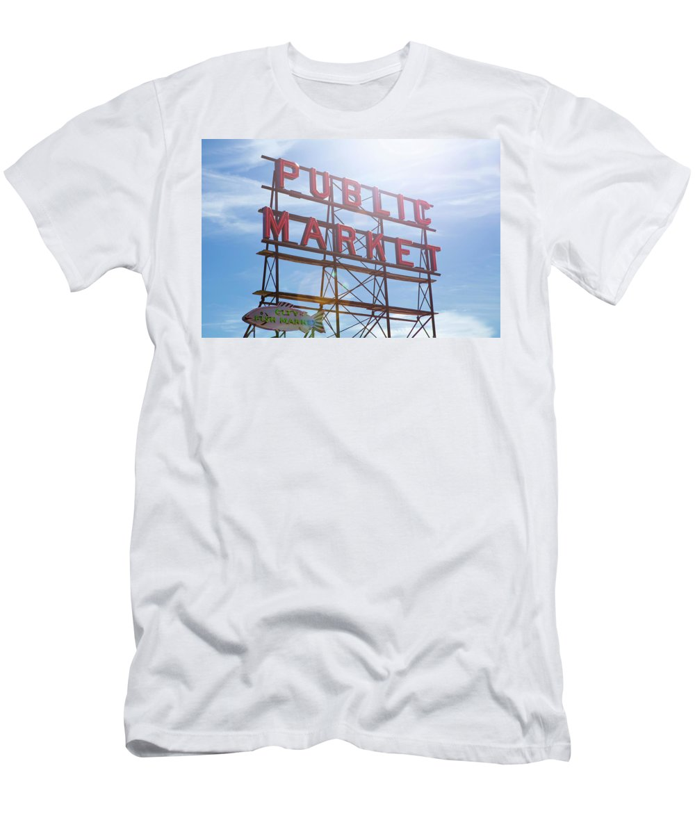 Pike Place Men's T-Shirt (Athletic Fit) featuring the photograph Pike Place Public Market Sign by Stephanie McDowell