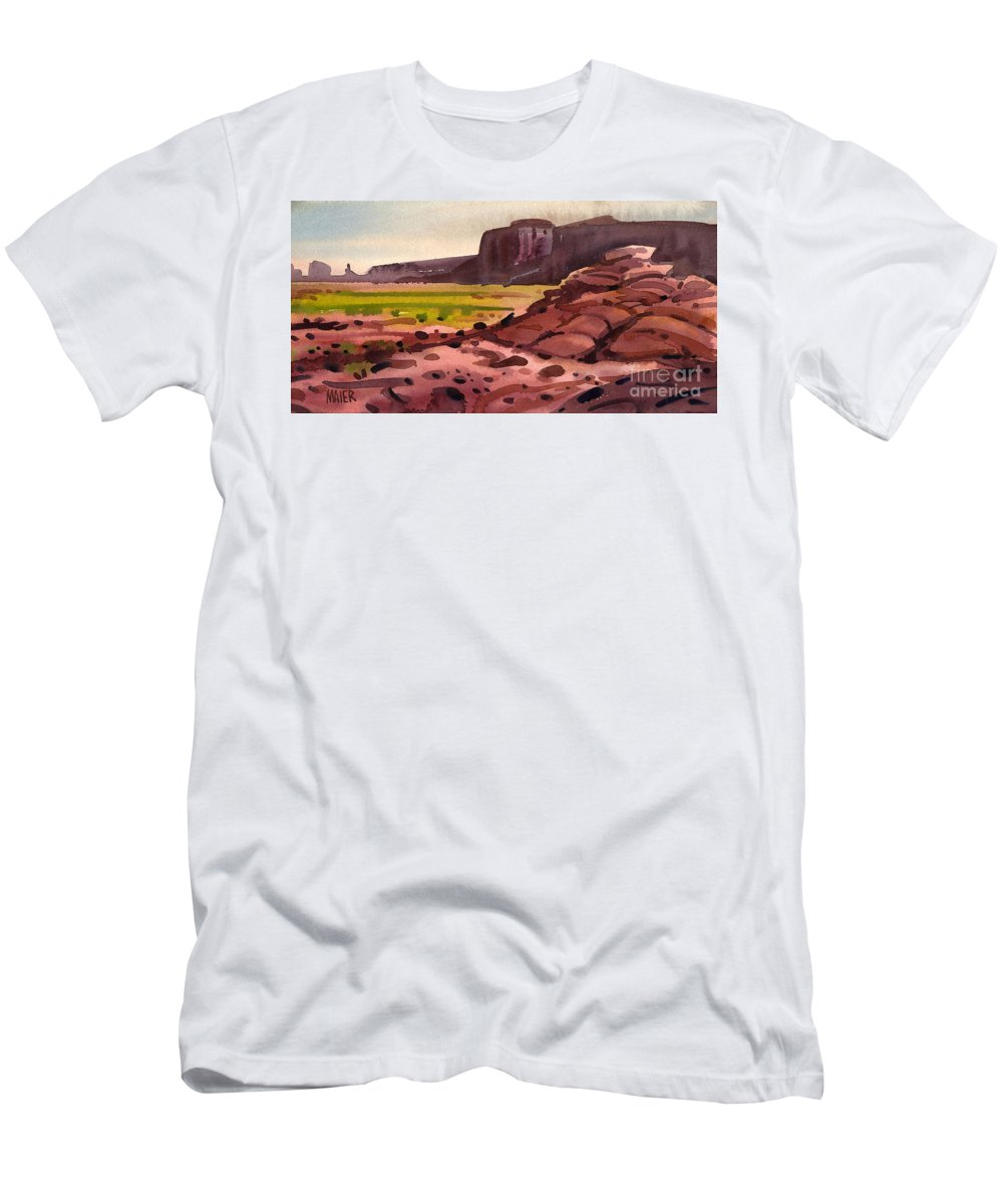 Monument Valley Men's T-Shirt (Athletic Fit) featuring the painting Pillow Rocks by Donald Maier
