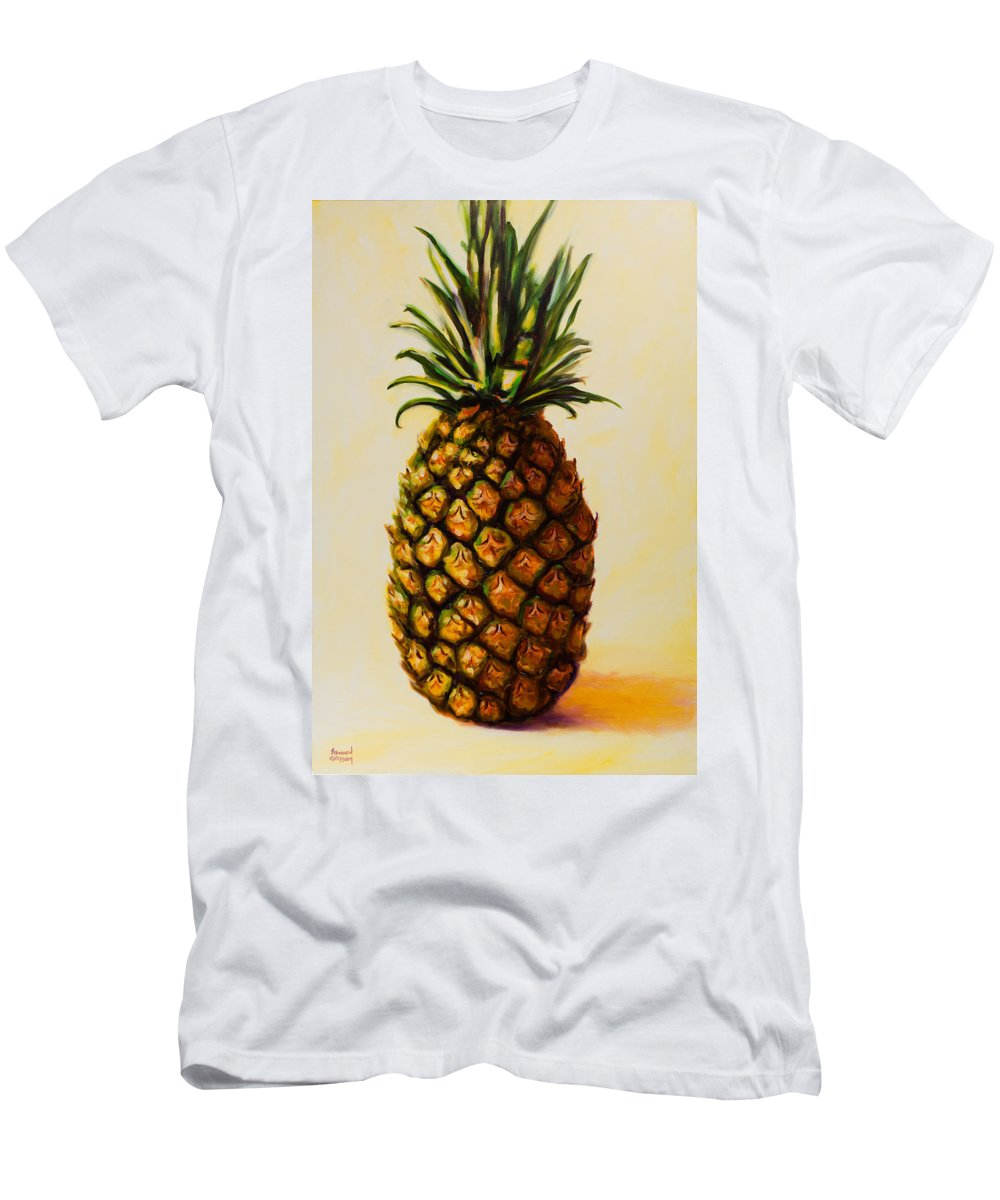 Pineapple Men's T-Shirt (Slim Fit) featuring the painting Pineapple Angel by Shannon Grissom