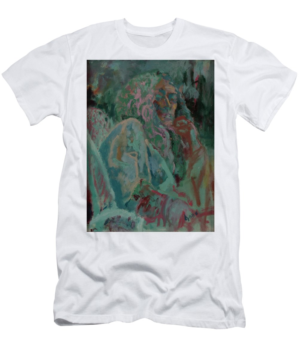 Portrait Men's T-Shirt (Athletic Fit) featuring the painting Pink And Green Portrait by Lynne Guess