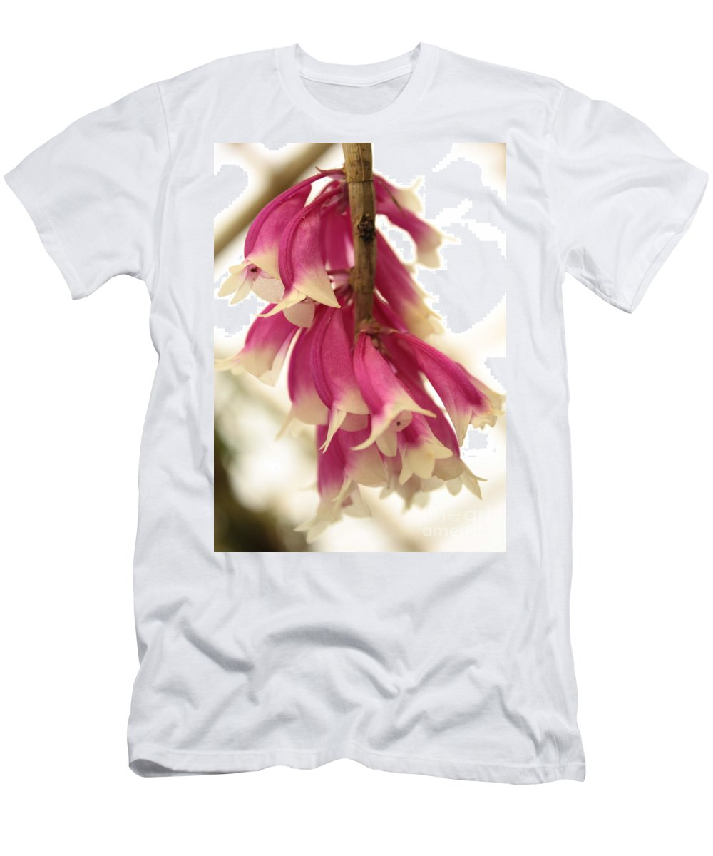 Pink And White Flowers Men's T-Shirt (Athletic Fit) featuring the photograph Pink And White Bells by Carol Groenen