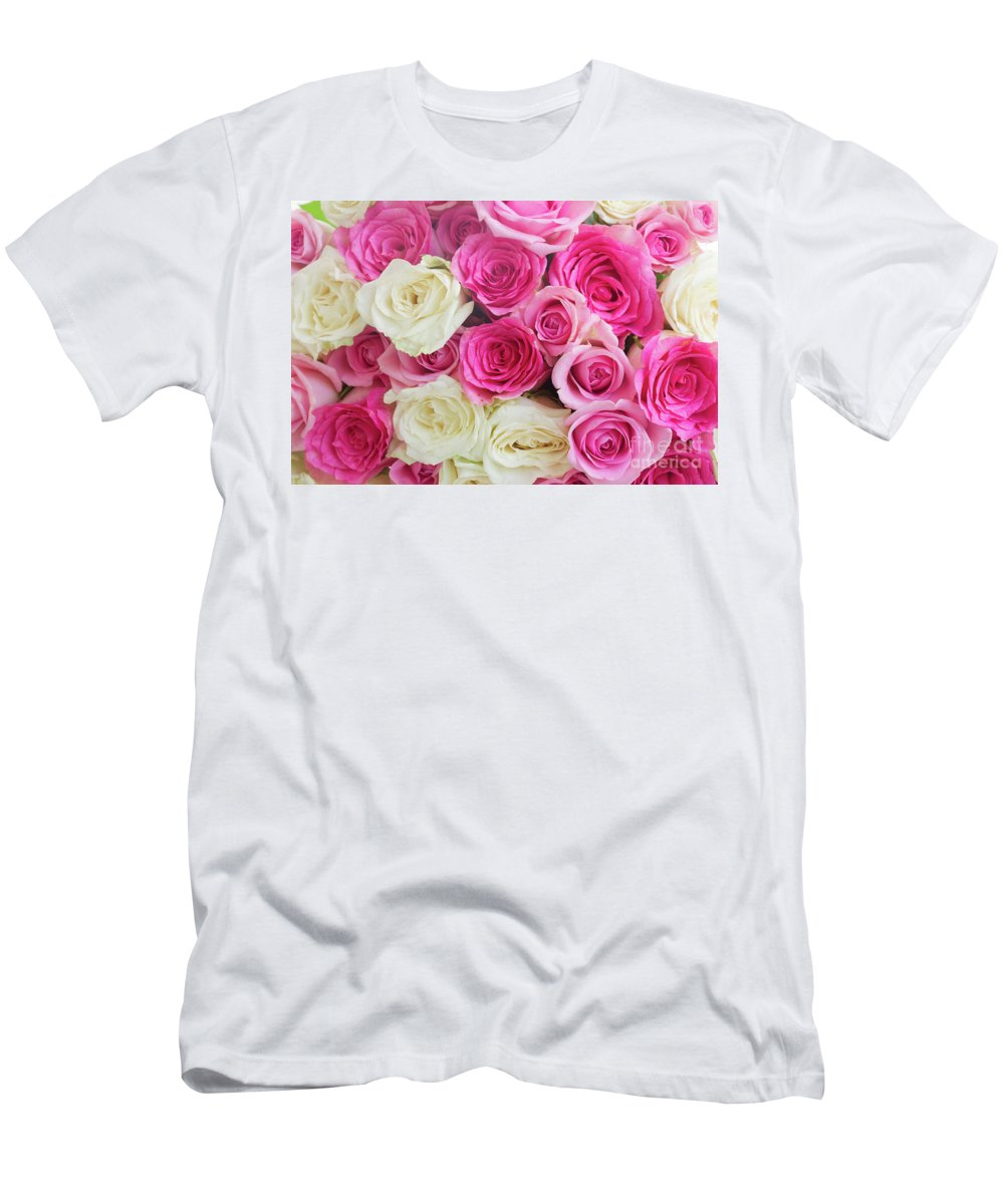 Rose Men's T-Shirt (Athletic Fit) featuring the photograph Pink And White Roses Bunch by Anastasy Yarmolovich