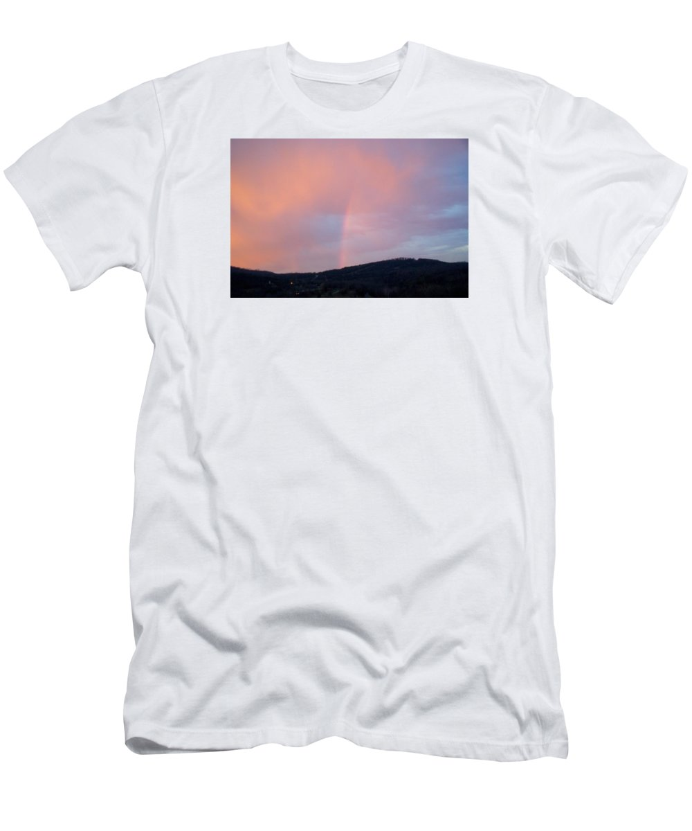 Pink Clouds T-Shirt featuring the photograph Pink clouds with rainbow by Toni Berry