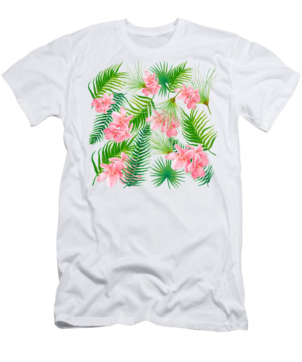 Fern Leaves Men's T-Shirt (Athletic Fit) featuring the painting Pink Frangipani And Fern Leaves by Jan Matson
