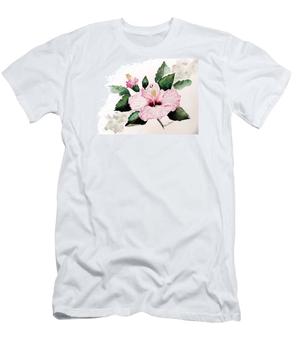 Hibiscus Painting  Floral Painting Flower Pink Hibiscus Tropical Bloom Caribbean Painting Men's T-Shirt (Athletic Fit) featuring the painting Pink Hibiscus by Karin Dawn Kelshall- Best