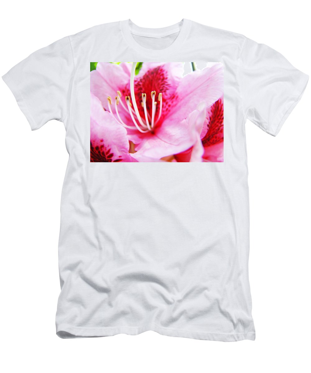 Rhodie Men's T-Shirt (Athletic Fit) featuring the photograph Pink Rhodie Flowers Art Prints Canvas Rhododendrons Baslee Troutman by Baslee Troutman