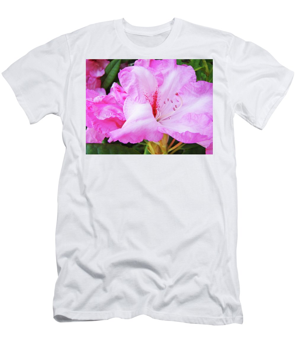 Rhodie Men's T-Shirt (Athletic Fit) featuring the photograph Pink Rhododendron Art Print Floral Canvas Rhodies Baslee Troutman by Baslee Troutman