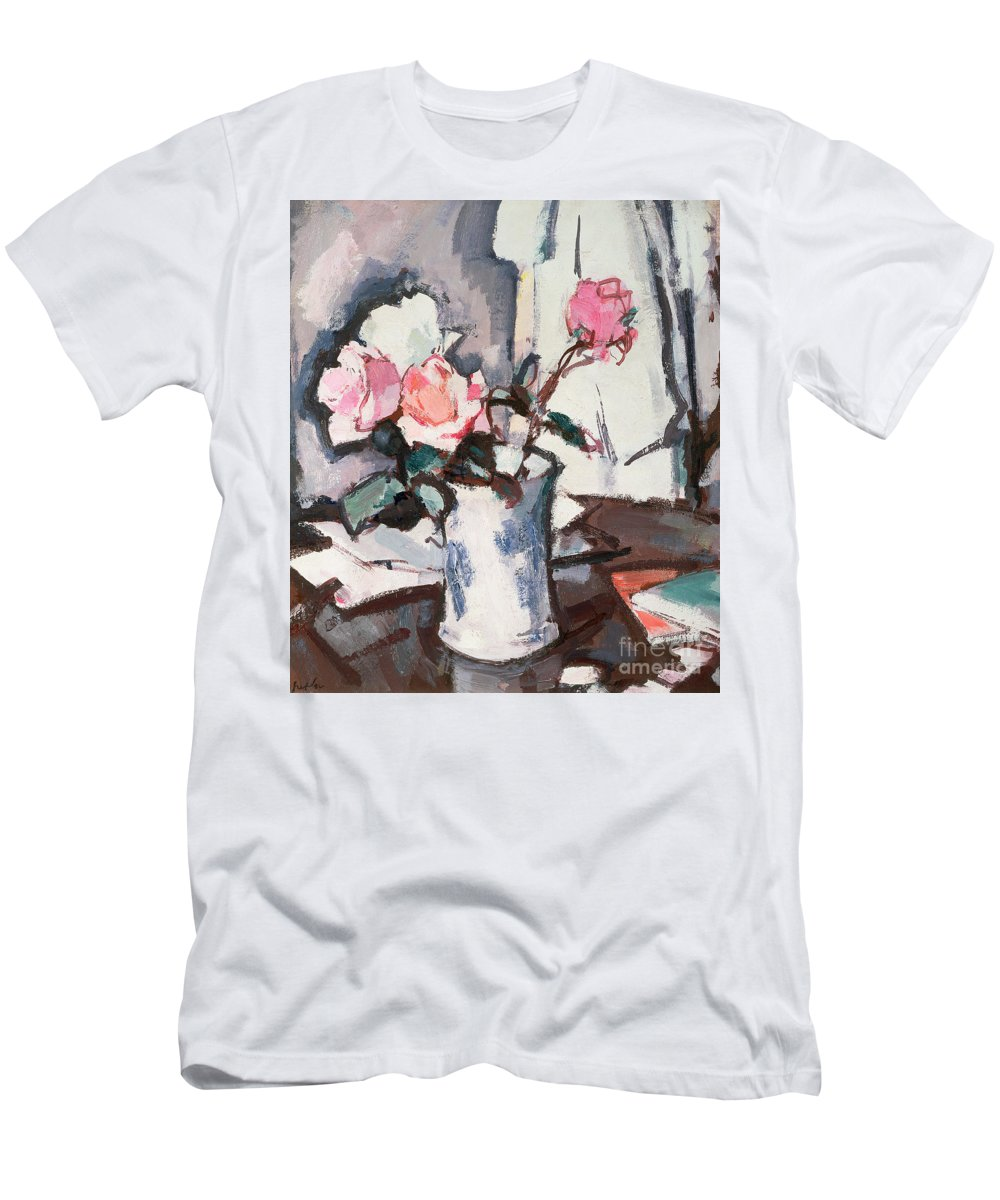 Pink Men's T-Shirt (Athletic Fit) featuring the painting Pink Roses by Samuel John Peploe