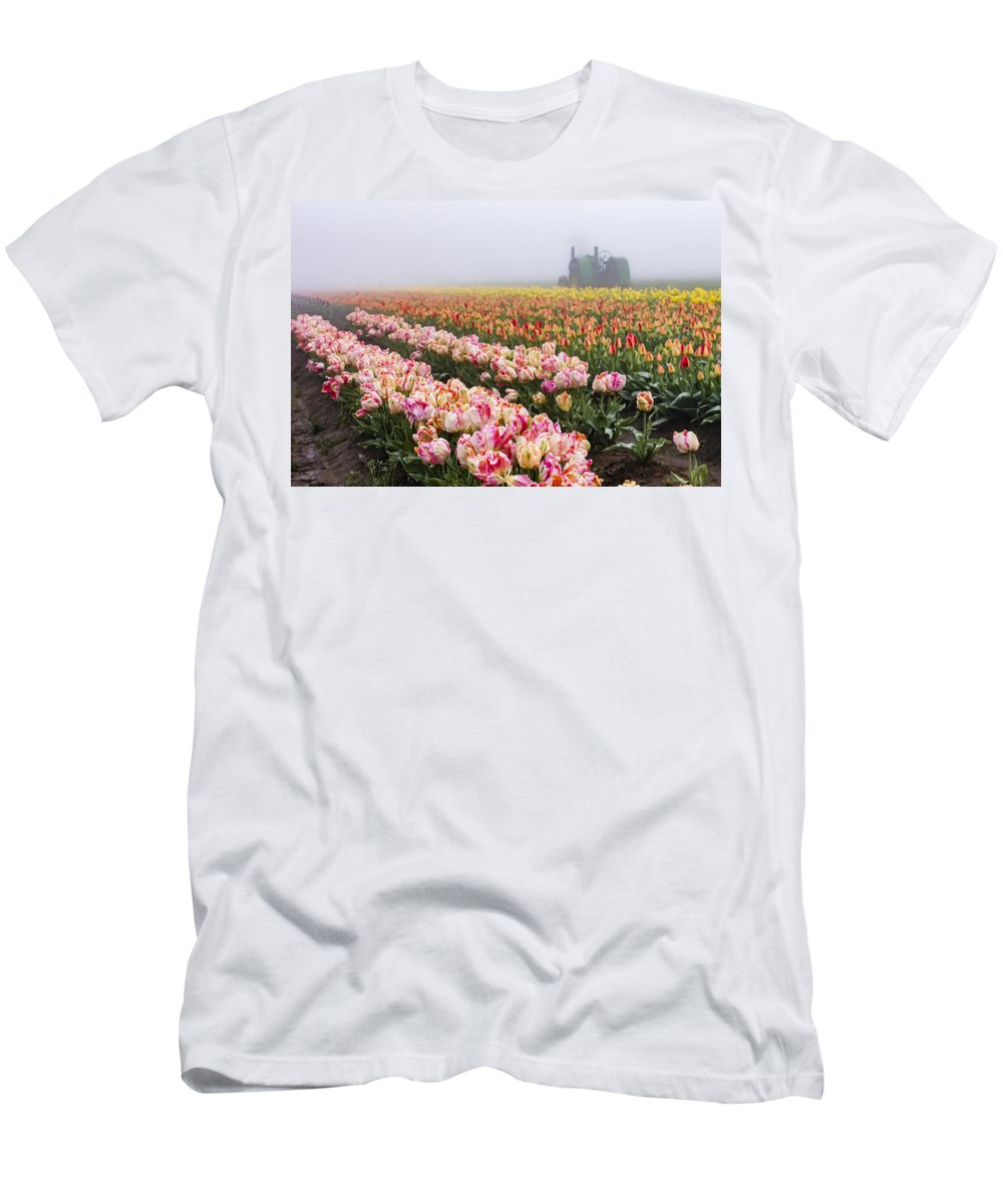 Agriculture Men's T-Shirt (Athletic Fit) featuring the photograph Pink Tulips And Tractor by John Trax