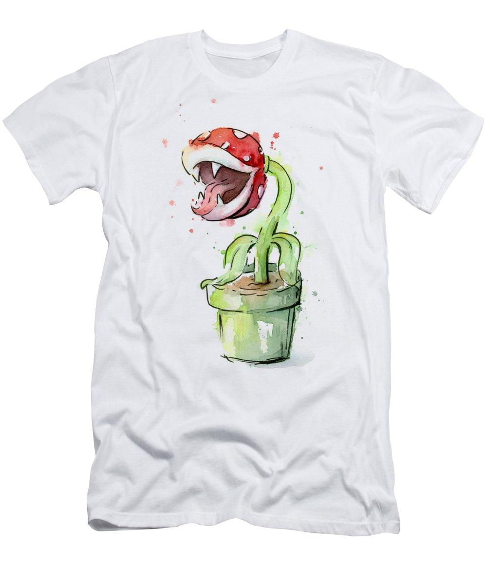 Piranha T-Shirt featuring the painting Piranha Plant Watercolor by Olga Shvartsur