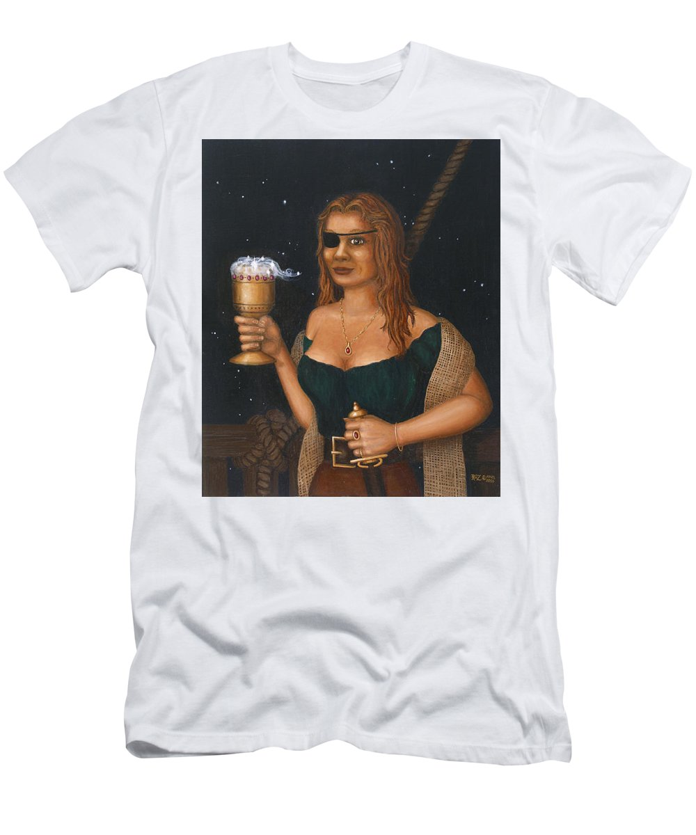 Fantasy Men's T-Shirt (Athletic Fit) featuring the painting Pirate Queen by Roz Eve