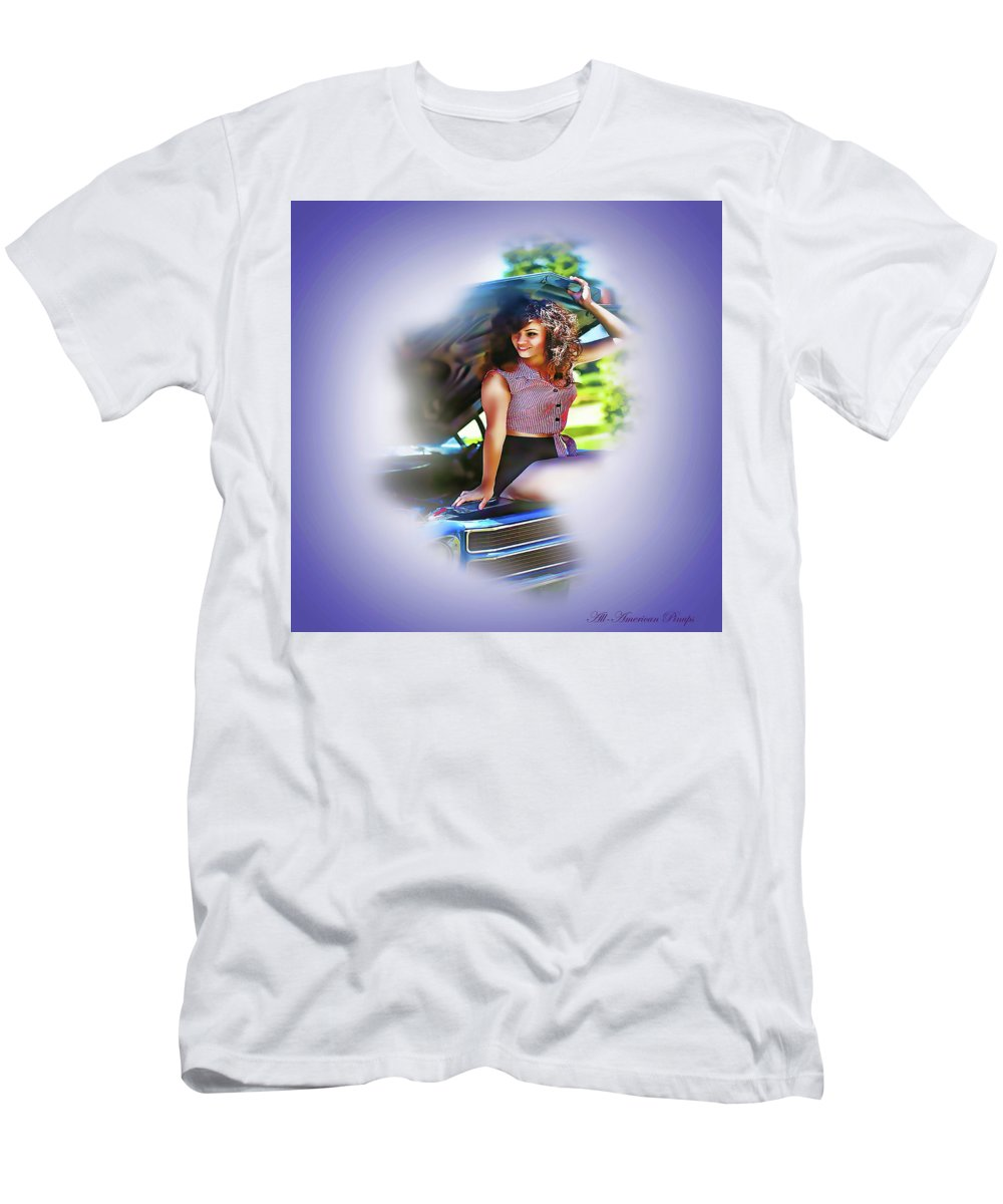 Pinups Men's T-Shirt (Athletic Fit) featuring the digital art Plaid Chevelle by Robert Everett