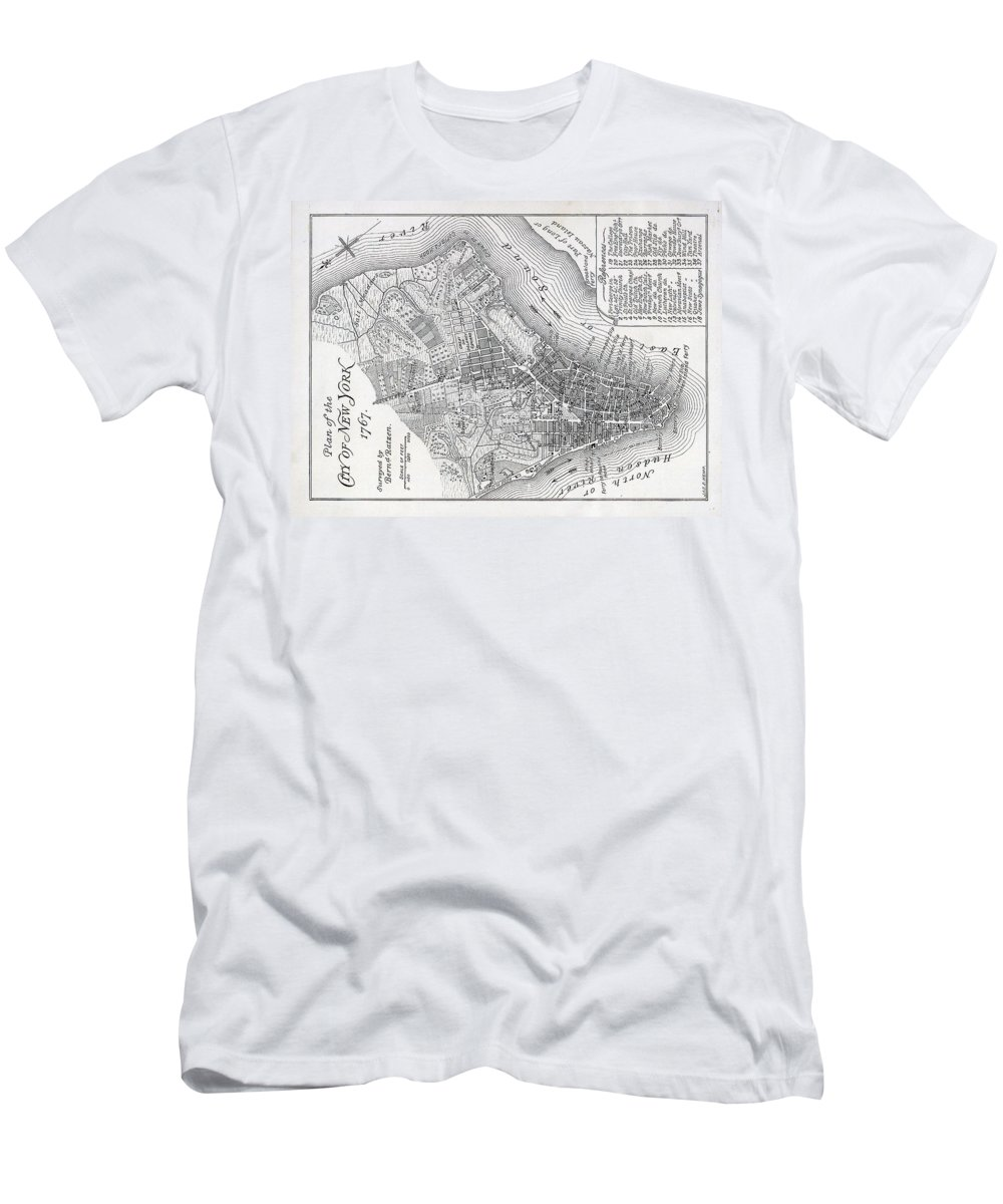 Map Men's T-Shirt (Athletic Fit) featuring the painting Plan Of The City Of New York by American School