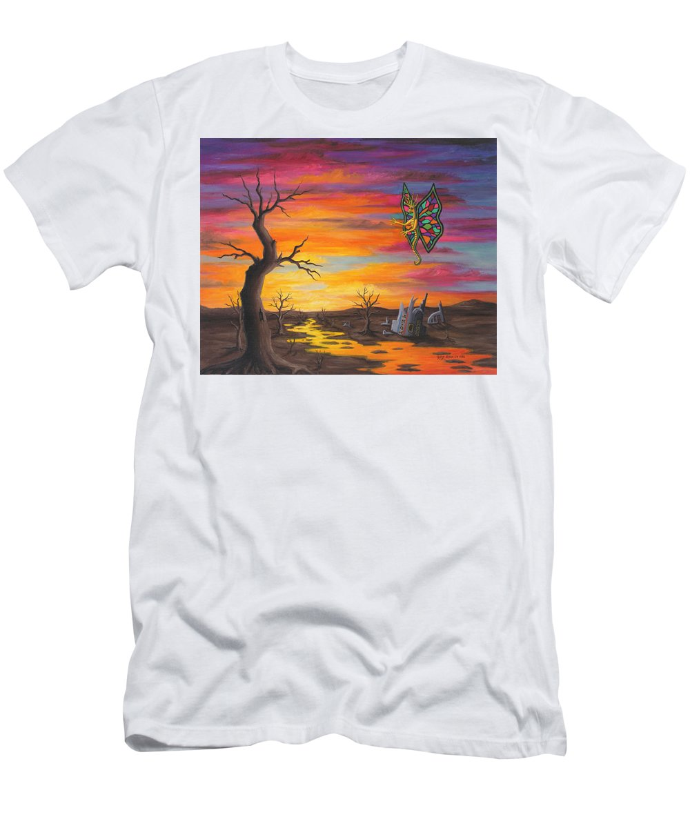 Fantasy Men's T-Shirt (Slim Fit) featuring the painting Planet Px7 by Roz Eve