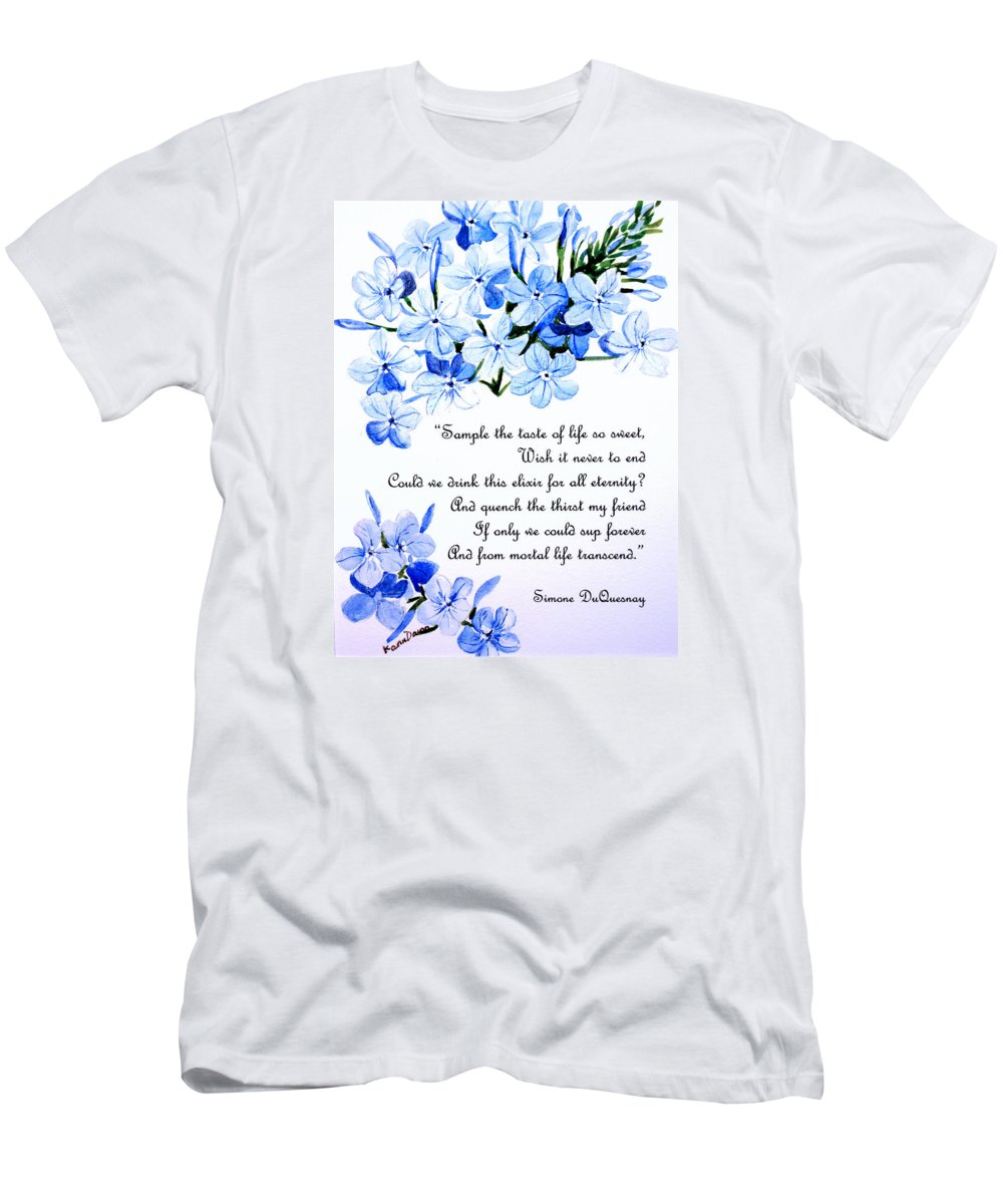 Plumbago Painting Men's T-Shirt (Athletic Fit) featuring the painting Plumbago  Poem by Karin Dawn Kelshall- Best