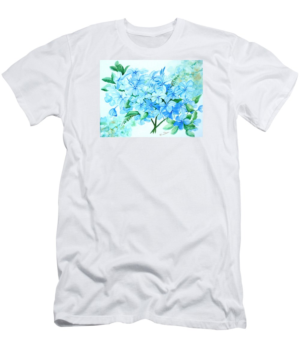 Floral Blue Painting Plumbago Painting Flower Painting Botanical Painting Bloom Blue Painting T-Shirt featuring the painting Plumbago by Karin Dawn Kelshall- Best