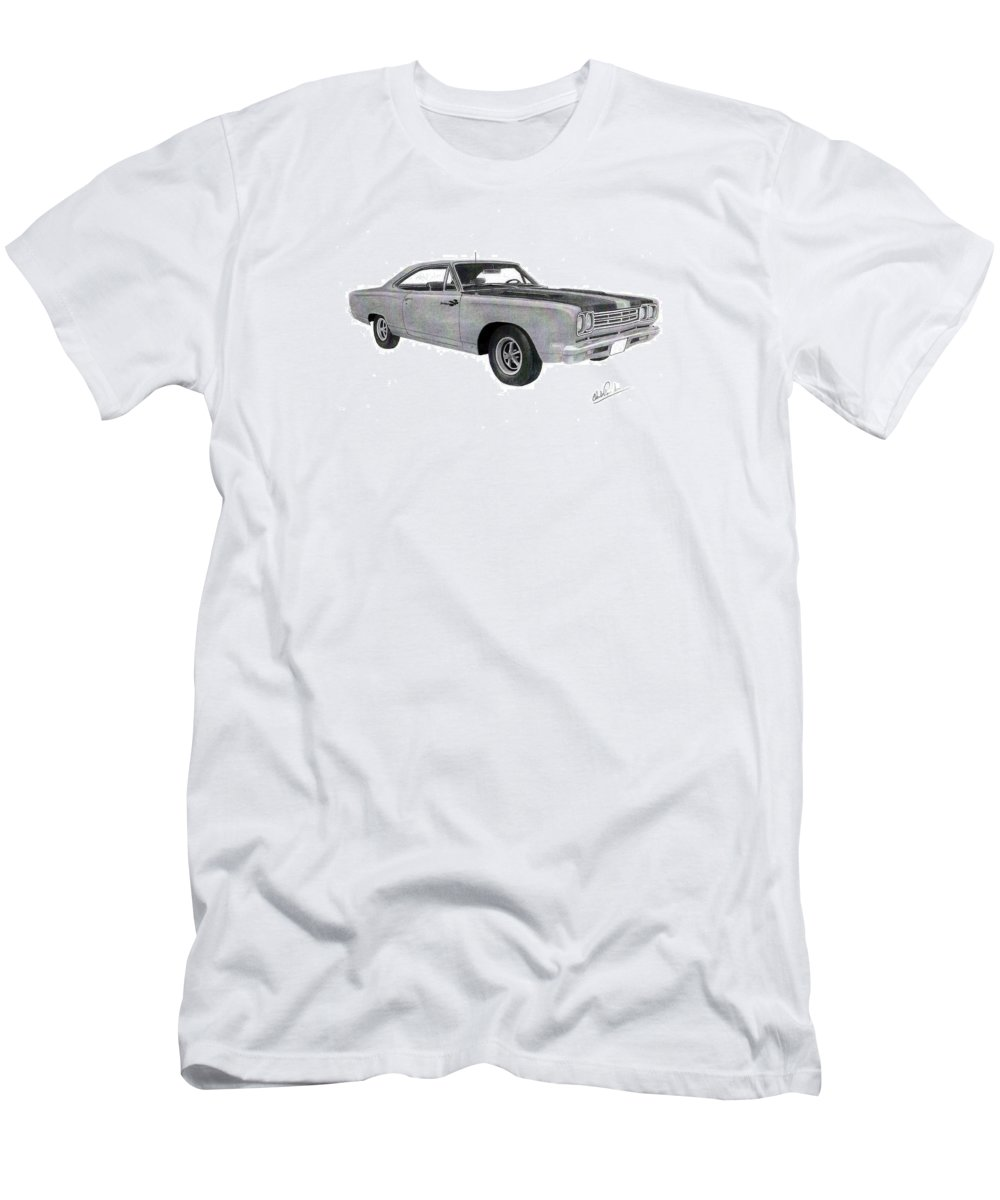 Car Art Men's T-Shirt (Athletic Fit) featuring the drawing Plymouth Road Runner 1969 by Claude Prud' homme