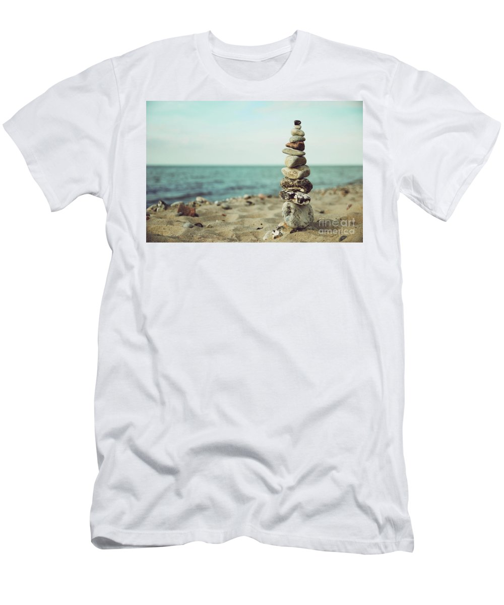 Stones Men's T-Shirt (Athletic Fit) featuring the photograph Poised by Hannes Cmarits