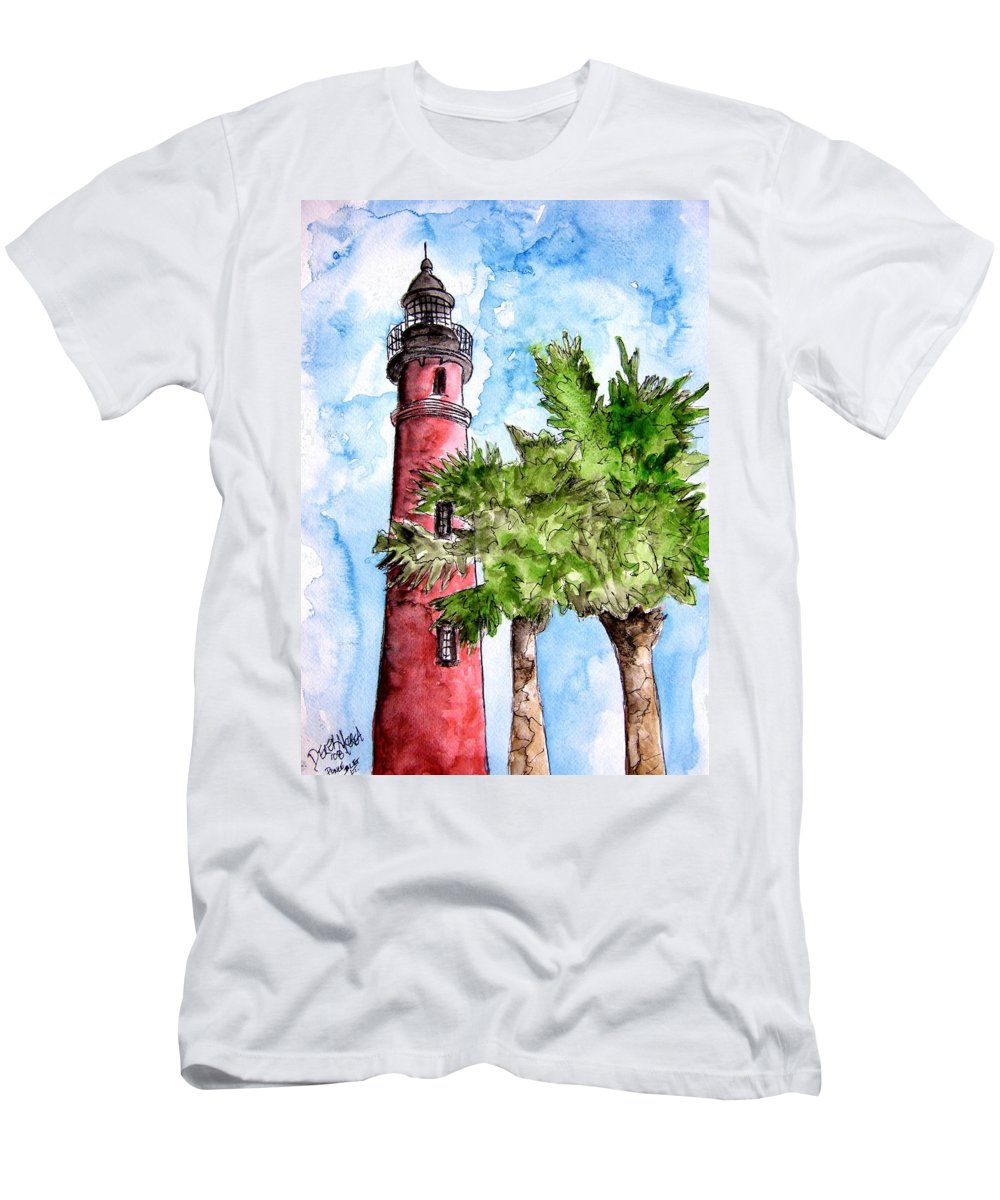 Ponce De Leon Men's T-Shirt (Athletic Fit) featuring the painting Ponce De Leon Inlet Florida Lighthouse Art by Derek Mccrea