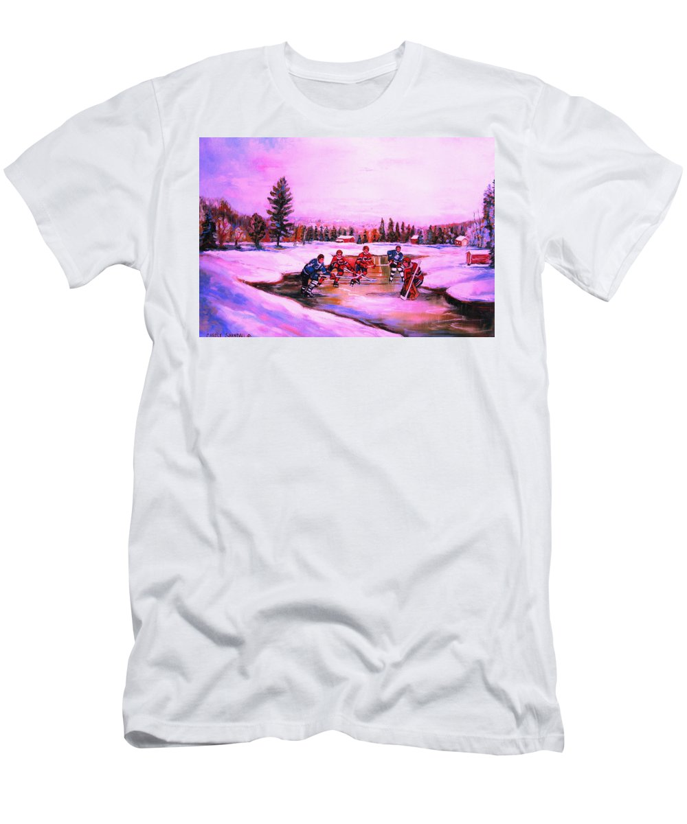 Hockey Men's T-Shirt (Athletic Fit) featuring the painting Pond Hockey Warm Skies by Carole Spandau