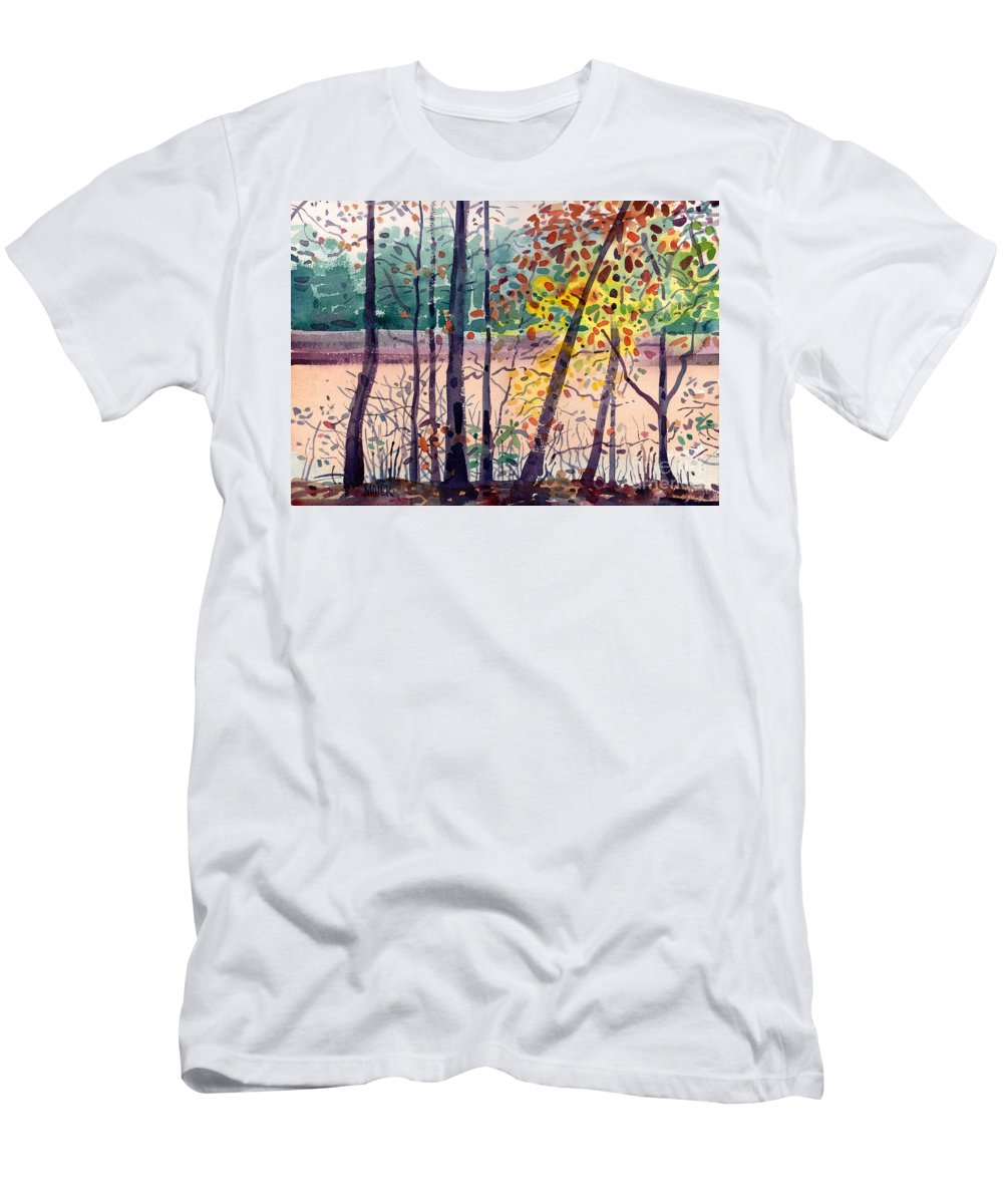 Pond T-Shirt featuring the painting Pond in Fall by Donald Maier