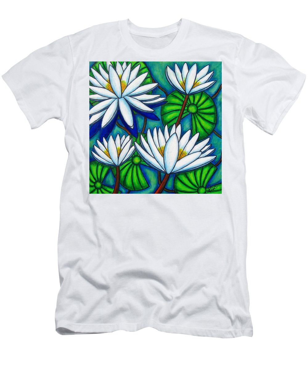 Water Lilies T-Shirt featuring the painting Pond Jewels by Lisa Lorenz