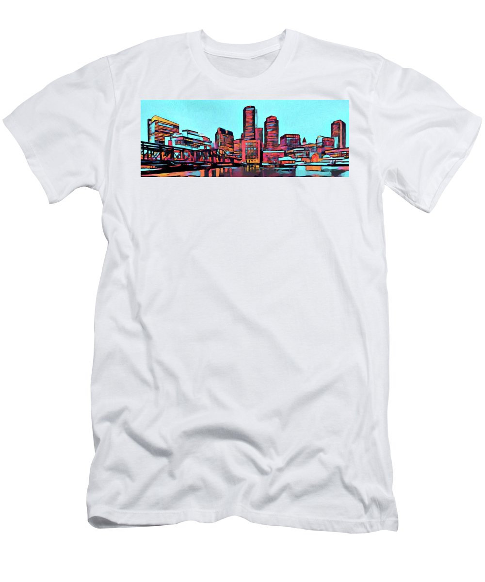 Colorful Boston Skyline Men's T-Shirt (Athletic Fit) featuring the painting Pop Art Boston Skyline by Dan Sproul